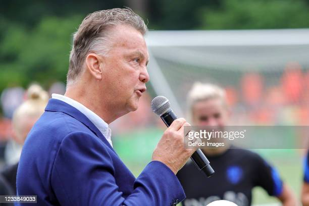 Louis van Gaal speaks with during the training session of Netherlands Women at Mac3Park Stadium on July 03, 2021 in Zwolle, Netherlands.