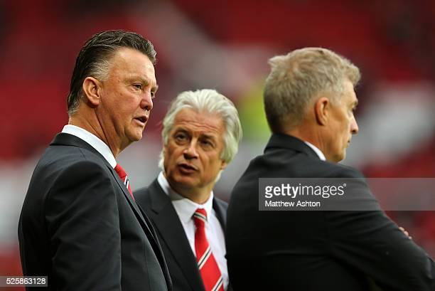 Louis van Gaal the head coach / manager of Manchester United, Marcel Bout, chief opposition scout at Manchester United and Training physiologist Jos...
