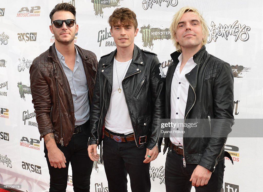 Louis Vecchio, David Boyd, and Soren Hansen of New Politics attend the 2015 Journeys AP Music Awards, Fueled by Monster Energy Drink at Quicken Loans Arena on July 22, 2015 in Cleveland, Ohio.