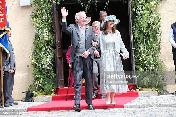 Louis von Adelsheim and his wife LillianElena BaettigRodriguez parents of the bride Cleopatra zu OettingenSpielberg during the wedding of hereditary...