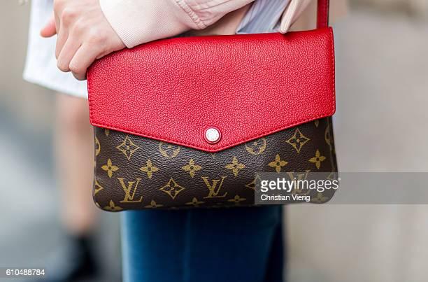 Louis Vuitton bag during Milan Fashion Week Spring/Summer 2017 on September 25 2016 in Milan Italy