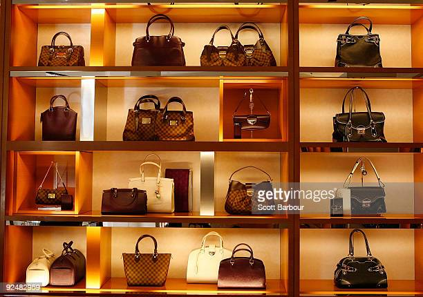 Louis Vuitton bags sit on display at the first anniversary of the Louis Vuitton Collins Street store on October 29 2009 in Melbourne Australia