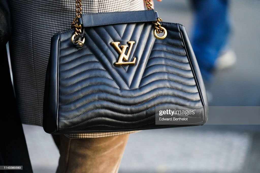 A Louis Vuitton black leather padded bag is seen on April 18