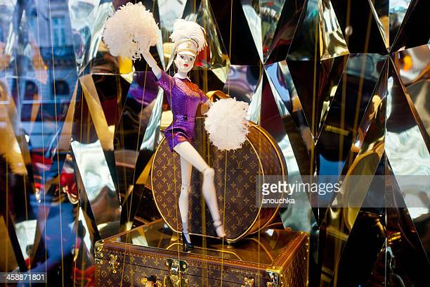 louis vuitton christmas decorated window display, galleries lafa - louis vuitton designer label stock photos and pictures