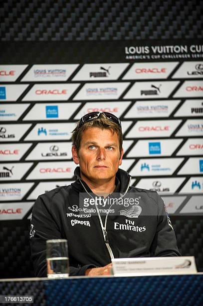 Louis Vuitton Finalists press conference with Glenn Ashby Emirates Team New Zealand Skipper Dean Barker The Louis Vuitton Cup sailed in AC 72s July...