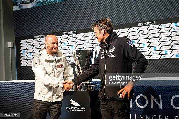 Louis Vuitton Finalists press conference with Luna Rossa Challenge and Emirates Team New Zealand Stephen Barclay CEO of the America's Cup Event...