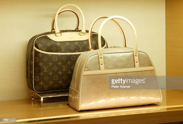 Louis Vuitton handbag is shown at a press conference to announce the opening of a new store in New York City celebrating their 150th anniversary...