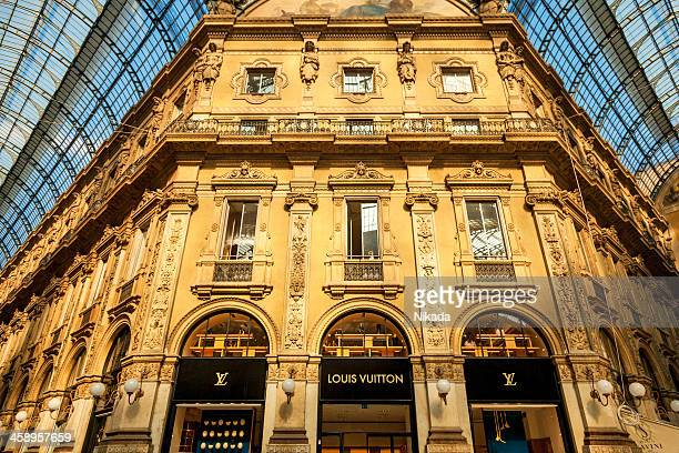 louis vuitton shop - milan, italy - louis vuitton designer label stock photos and pictures