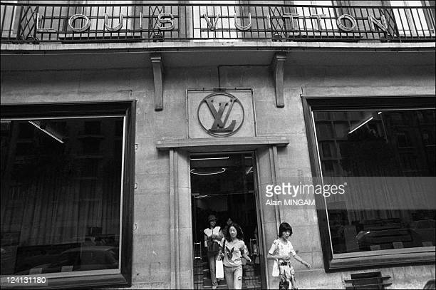 Louis Vuitton store in Paris France on August 09 1977 Japanese customers in Avenue Marceau