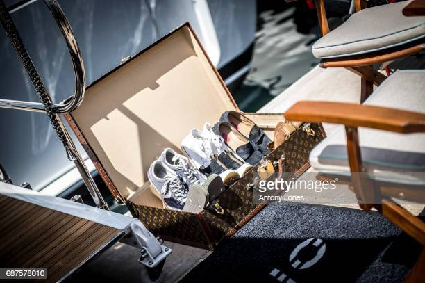 Louis Vuitton suitcase near luxury yachts berth next to the Palais de Festivals during the 70th annual Cannes Film Festival at on May 23 2017 in...