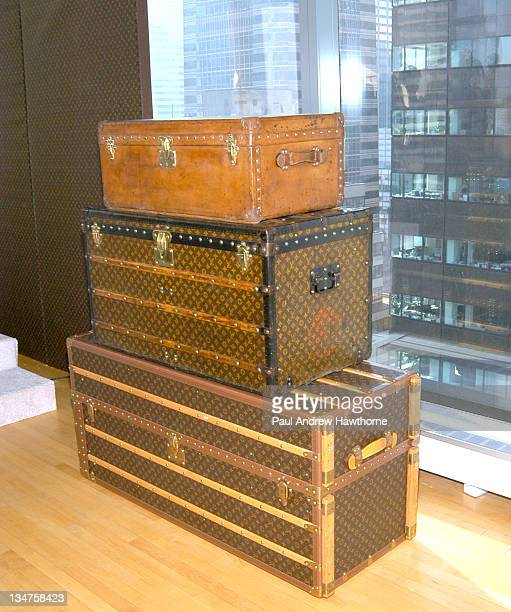 Louis Vuitton trunks during Louis Vuitton Kicks Off 150th Anniversary by Opening Its Largest Store in New York City Press Conference at The Tower in...