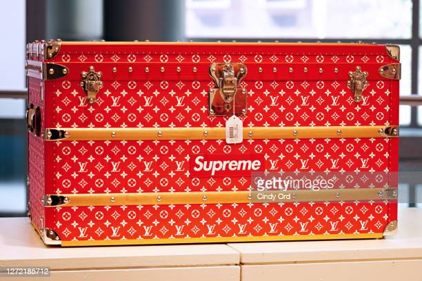 Louis Vuitton x Supreme trunk is displayed during a preview at Sotheby's for their Inaugural HIP HOP Auction on September 12, 2020 in New York City....