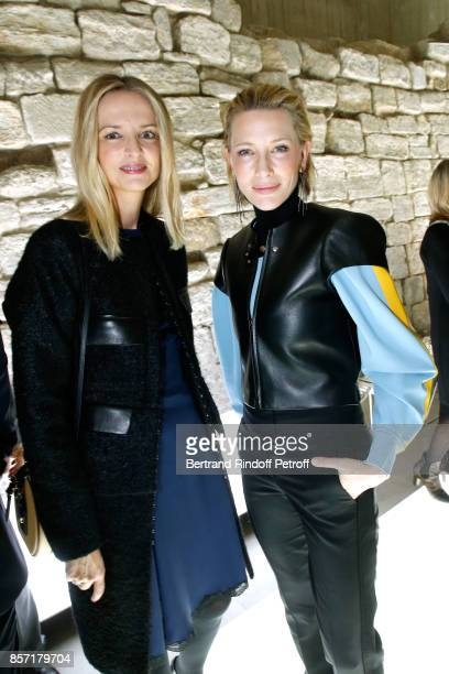 Louis Vuitton's executive vice president Delphine Arnault and Cate Blanchett attend the Louis Vuitton show as part of the Paris Fashion Week...