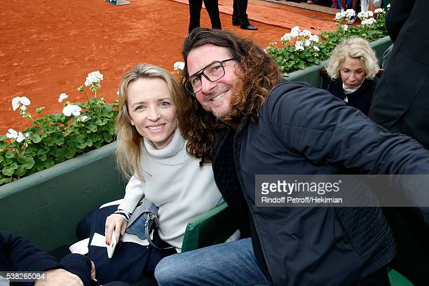 Louis Vuitton's executive vice president Delphine Arnault and CEO of Ventes Privees JacquesAntoine Granjon attend Day Fifteen Men single's Final of...