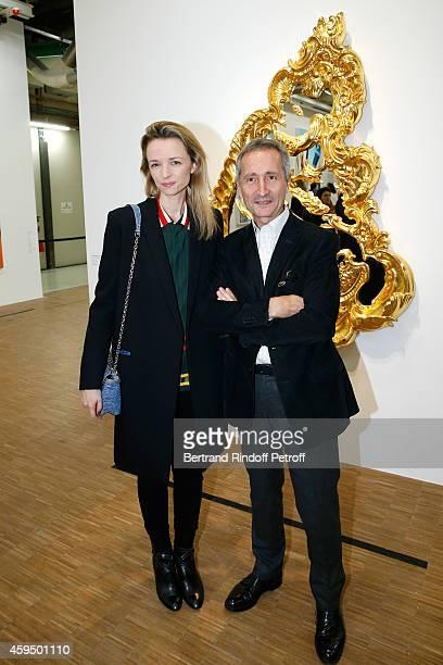 Louis Vuitton's executive vice president Delphine Arnault and Director of the Centre Pompidou Museum of Modern Art Bernard Blistene attend the 'Jeff...