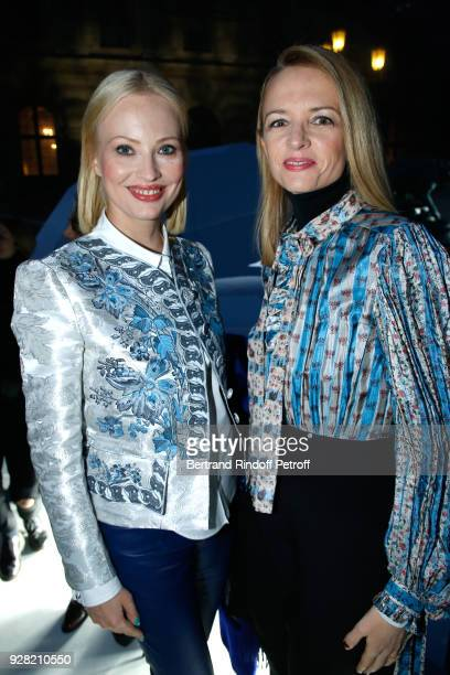Louis Vuitton's executive vice president Delphine Arnault and guest attend the Louis Vuitton show as part of the Paris Fashion Week Womenswear...