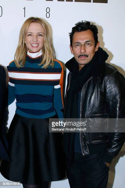 Louis Vuitton's executive vice president Delphine Arnault and Haider Ackermann attend the LVMH Prize 2018 Designers Presentation on March 1 2018 in...