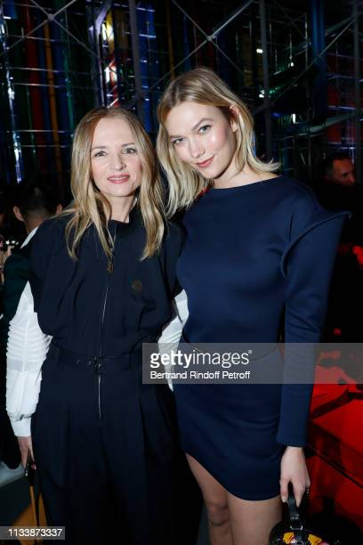 Louis Vuitton's executive vice president Delphine Arnault and Karlie Kloss attend the Louis Vuitton show as part of the Paris Fashion Week Womenswear...