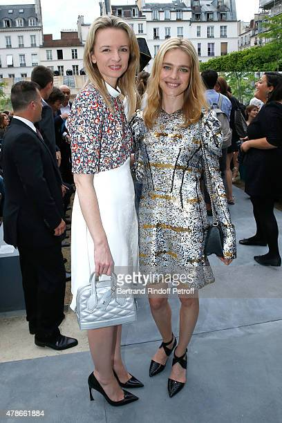 Louis Vuitton's executive vice president Delphine Arnault and Model Natalia Vodianova attend the Berluti Menswear Spring/Summer 2016 show as part of...