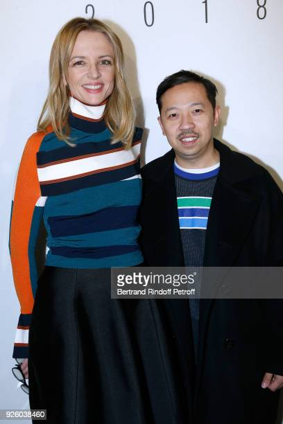 Louis Vuitton's executive vice president Delphine Arnault and stylist Humberto Leon attend the LVMH Prize 2018 Designers Presentation on March 1 2018...