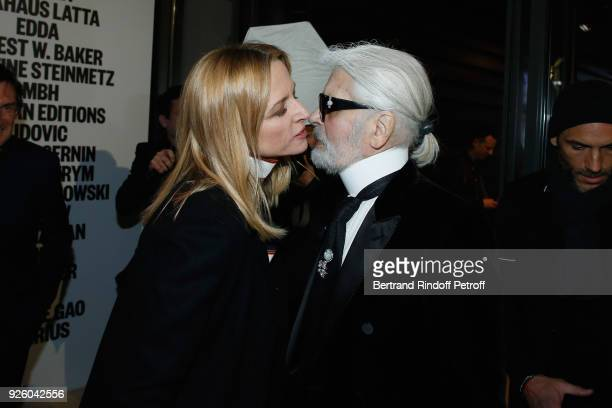 Louis Vuitton's executive vice president Delphine Arnault and stylist Karl Lagerfeld attend the LVMH Prize 2018 Designers Presentation on March 1...