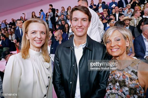 Louis Vuitton's executive vice president Delphine Arnault CEO of Rimowa Alexandre Arnault and Helene Arnault attend the Dior Homme Menswear Spring...