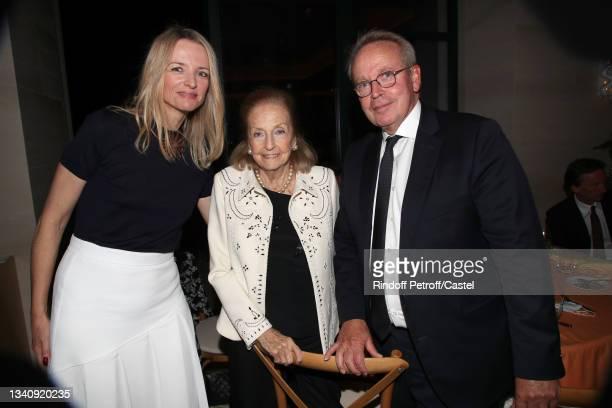 Louis Vuitton's executive vice president Delphine Arnault, Doris Brynner and Renaud Donnedieu de Vabres attend Doris Brynner celebrates her 90th...