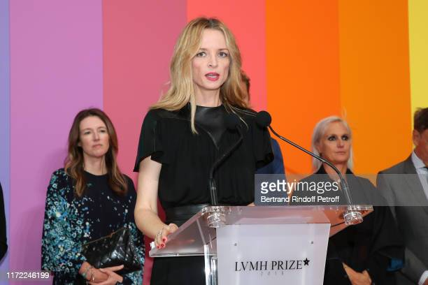 Louis Vuitton's executive vice president Delphine Arnault presents the LVMH Prize 2019 Edition at Louis Vuitton Foundation on September 04 2019 in...