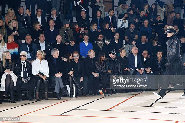 Louis Vuitton's executive vice president Delphine Arnault stylist Karl Lagerfeld Helene Arnault her husband Owner of LVMH Luxury Group Bernard...