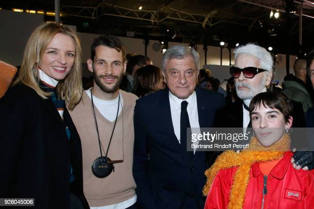 Louis Vuitton's executive vice president Delphine Arnault stylist Simon Porte Jacquemus Sidney Toledano stylist Karl Lagerfeld and Winner of the...