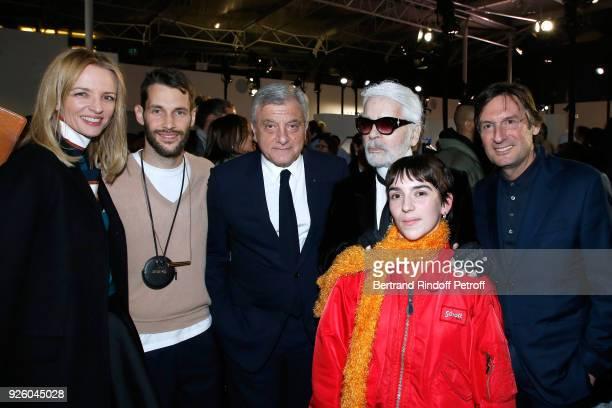 Louis Vuitton's executive vice president Delphine Arnault stylist Simon Porte Jacquemus Sidney Toledano stylist Karl Lagerfeld Winner of the 'Young...