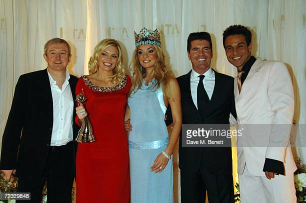 Louis Walsh Kate Thornton Miss World 2006 Tatana Kucharova Simon Cowell and Chico Slimani pose in the Awards Room with the Most Popular Entertainment...