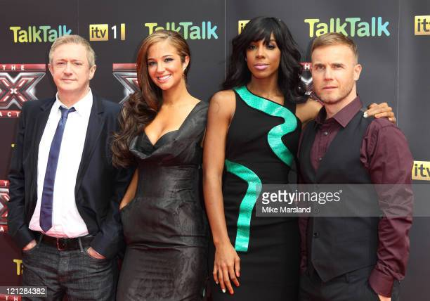 Louis Walsh, Tulisa Contostavlos, Kelly Rowland and Gary Barlow attend the press launch of The X Factor at 02 Arena on August 17, 2011 in London,...