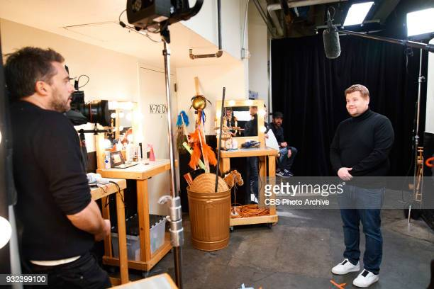 Louis Waymouth and James Corden perform in the sketch Wrinkle In Time 4D during 'The Late Late Show with James Corden' Monday March 12 2018 On The...