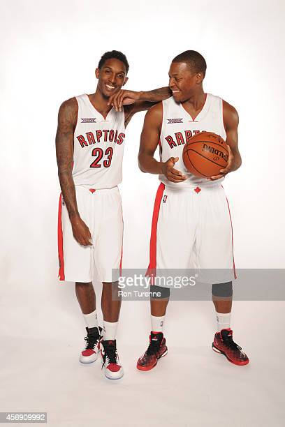 Louis Williams and Kyle Lowry of the Toronto Raptors poes for a photo during Media Day September 29 2014 at the Air Canada Centre in Toronto Ontario...