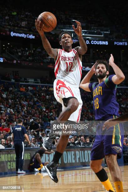 Louis Williams of the Houston Rockets goes up for a shot during a game against the New Orleans Pelicans on February 23 2017 at Smoothie King Center...