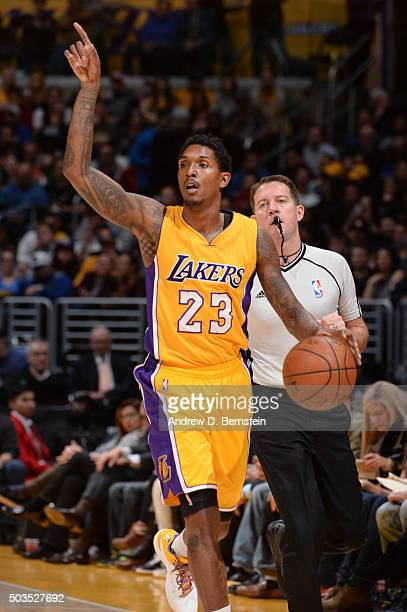 Louis Williams of the Los Angeles Lakers calls a play against the Golden State Warriors during the game on January 5 2016 at STAPLES Center in Los...