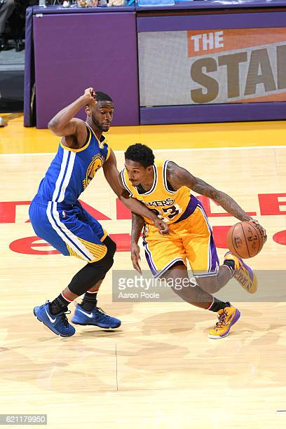 Louis Williams of the Los Angeles Lakers drives to the basket against Ian Clark of the Golden State Warriors during the game on November 4 2016 at...