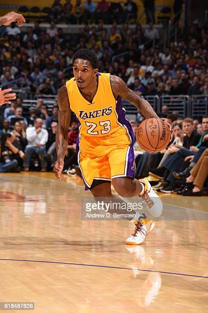 Louis Williams of the Los Angeles Lakers handles the ball against the Houston Rockets on October 26 2016 at STAPLES Center in Los Angeles California...