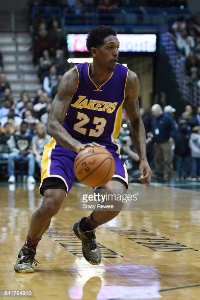 Louis Williams of the Los Angeles Lakers handles the ball during a game against the Milwaukee Bucks at the BMO Harris Bradley Center on February 10...