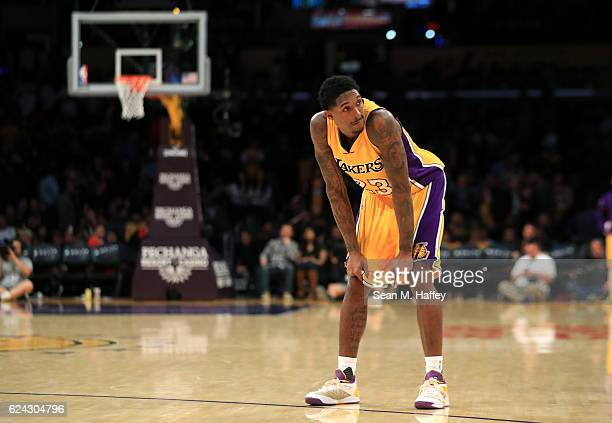 Louis Williams of the Los Angeles Lakers looks on during the second half of a game against the San Antonio Spurs at Staples Center on November 18...