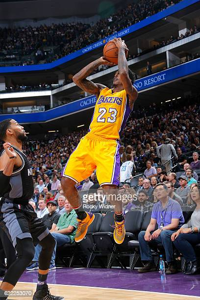 Louis Williams of the Los Angeles Lakers shoots the ball during the game against the Sacramento Kings on November 10 2016 at Sleep Train Arena in...