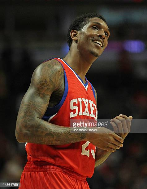 Louis Williams of the Philadelphia 76ers smiles near the end of Game Two of the Eastern Conference Quarterfinals against the Chicago Bulls during the...