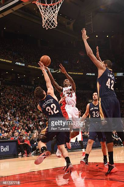 Louis Williams of the Toronto Raptors goes up for a shot against the New Orleans Pelicans on January 18 2015 at the Air Canada Centre in Toronto...