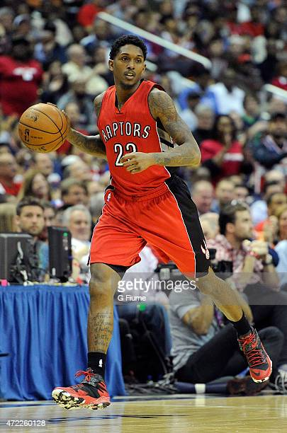 Louis Williams of the Toronto Raptors handles the ball against the Washington Wizards during Game Four of the Eastern Conference Quarterfinals of the...