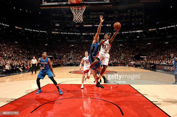 Louis Williams of the Toronto Raptors shoots against the Orlando Magic on December 15 2014 at the Air Canada Centre in Toronto Ontario Canada NOTE TO...