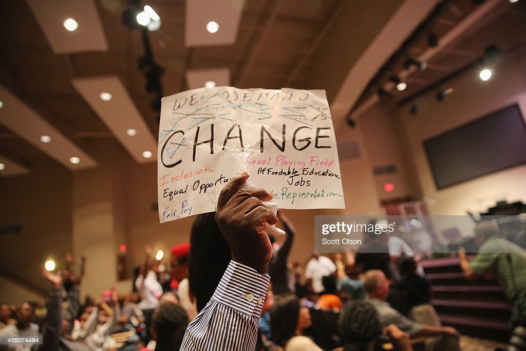 Ferguson City Council Holds First Meeting Since Police Shooting Death Of Michael Brown : News Photo