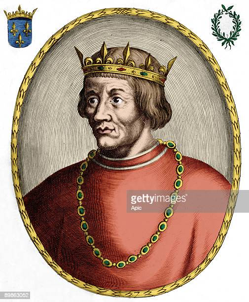 Louis X french king in 13141316 engraving colorized document