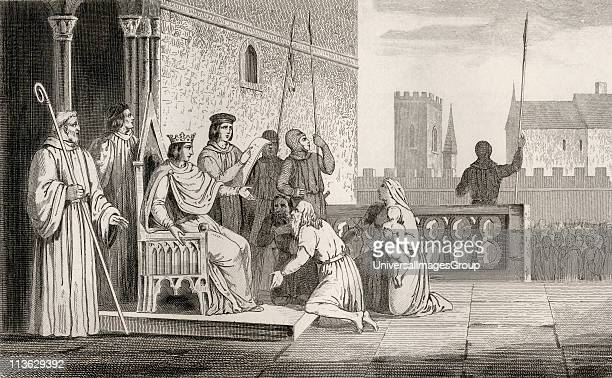 Louis X The Headstrong or The Stubborn 1289 to 1316 emancipates the serfs from Histoire de France by Colart published circa 1840