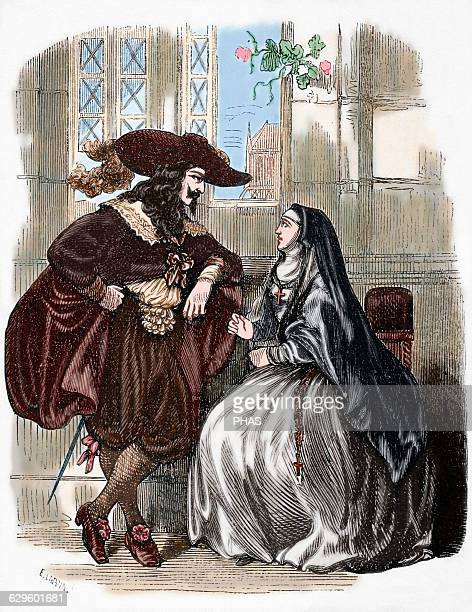 Louis XIII King of France Louis XIII visiting in the convent of the Visitation to Luise de La Fayette Engraving Colored